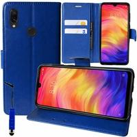 """Xiaomi Redmi Note 7S 6.3"""" M1901F71 [Les Dimensions EXACTES du telephone: 159.2 x 75.2 x 8.1 mm]: Accessoire Etui portefeuille Livre Housse Coque Pochette support vidéo cuir PU + mini Stylet - BLEU FONCE"""