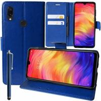 """Xiaomi Redmi Note 7S 6.3"""" M1901F71 [Les Dimensions EXACTES du telephone: 159.2 x 75.2 x 8.1 mm]: Accessoire Etui portefeuille Livre Housse Coque Pochette support vidéo cuir PU + Stylet - BLEU FONCE"""