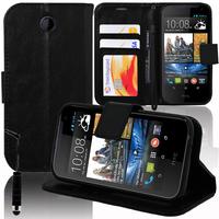 HTC Desire 310: Accessoire Etui portefeuille Livre Housse Coque Pochette support vidéo cuir PU + mini Stylet - NOIR