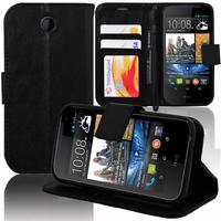 HTC Desire 310: Accessoire Etui portefeuille Livre Housse Coque Pochette support vidéo cuir PU - NOIR