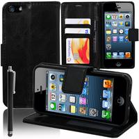 Apple iPhone 5/ 5S/ SE: Accessoire Etui portefeuille Livre Housse Coque Pochette support vidéo cuir PU + Stylet - NOIR