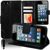 Apple iPhone 5/ 5S/ SE: Accessoire Etui portefeuille Livre Housse Coque Pochette support vidéo cuir PU + mini Stylet - NOIR