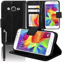 Samsung Galaxy Core Prime SM-G360F/ 4G SM-G361F/ G360GY G360P G360BT/DS G360FY/DS G360H/DS G360HU/DS G360M/DS: Accessoire Etui portefeuille Livre Housse Coque Pochette support vidéo cuir PU + Stylet - NOIR