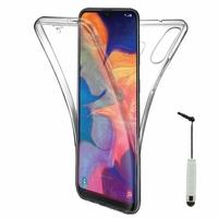 """Samsung Galaxy A10E 5.83"""" SM-A102U (non compatible Galaxy A10 6.2""""): Coque Housse Silicone Gel TRANSPARENTE ultra mince 360° protection intégrale Avant et Arrière + mini Stylet - TRANSPARENT"""