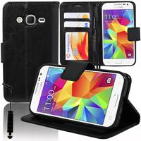 Samsung Galaxy Core Prime SM-G360F/ 4G SM-G361F/ G360GY G360P G360BT/DS G360FY/DS G360H/DS G360HU/DS G360M/DS: Accessoire Etui portefeuille Livre Housse Coque Pochette support vidéo cuir PU + mini Stylet - NOIR