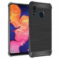 """Samsung Galaxy A10E 5.83"""" SM-A102U (non compatible Galaxy A10 6.2""""): Coque Housse Silicone Souple en Fibre de Carbone Brossé motif TPU Case - NOIR"""