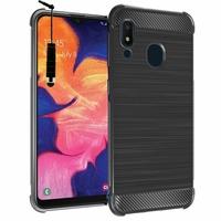 """Samsung Galaxy A10E 5.83"""" SM-A102U (non compatible Galaxy A10 6.2""""): Coque Housse Silicone Souple en Fibre de Carbone Brossé motif TPU Case + mini Stylet - NOIR"""
