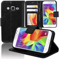 Samsung Galaxy Core Prime SM-G360F/ 4G SM-G361F/ G360GY G360P G360BT/DS G360FY/DS G360H/DS G360HU/DS G360M/DS: Accessoire Etui portefeuille Livre Housse Coque Pochette support vidéo cuir PU - NOIR