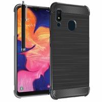 """Samsung Galaxy A10E 5.83"""" SM-A102U (non compatible Galaxy A10 6.2""""): Coque Housse Silicone Souple en Fibre de Carbone Brossé motif TPU Case + Stylet - NOIR"""