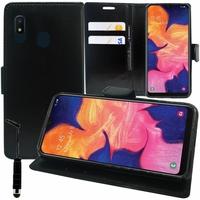"""Samsung Galaxy A10E 5.83"""" SM-A102U (non compatible Galaxy A10 6.2""""): Accessoire Etui portefeuille Livre Housse Coque Pochette support vidéo cuir PU + mini Stylet - NOIR"""