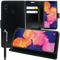 """Samsung Galaxy A10E 5.83"""" SM-A102U (non compatible Galaxy A10 6.2""""): Accessoire Etui portefeuille Livre Housse Coque Pochette support vidéo cuir PU + Stylet - NOIR"""