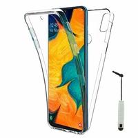 """Samsung Galaxy A30 SM-A305F 6.4"""" [Les Dimensions EXACTES du telephone: 158.5 x 74.5 x 7.7 mm]: Coque Housse Silicone Gel TRANSPARENTE ultra mince 360° protection intégrale Avant et Arrière + mini Stylet - TRANSPARENT"""