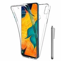 """Samsung Galaxy A30 SM-A305F 6.4"""" [Les Dimensions EXACTES du telephone: 158.5 x 74.5 x 7.7 mm]: Coque Housse Silicone Gel TRANSPARENTE ultra mince 360° protection intégrale Avant et Arrière + Stylet - TRANSPARENT"""
