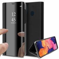 """Samsung Galaxy A10E 5.83"""" SM-A102U (non compatible Galaxy A10 6.2""""): Clear View Housse Etui Flip Folio Support Vidéo Effet Mirroir - NOIR"""