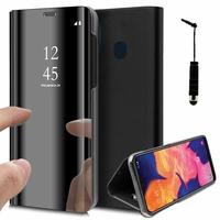"Samsung Galaxy A10E 5.83"" SM-A102U (non compatible Galaxy A10 6.2""): Clear View Housse Etui Flip Folio Support Vidéo Effet Mirroir + mini Stylet - NOIR"