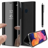 "Samsung Galaxy A10E 5.83"" SM-A102U (non compatible Galaxy A10 6.2""): Clear View Housse Etui Flip Folio Support Vidéo Effet Mirroir + Stylet - NOIR"