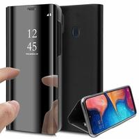 """Samsung Galaxy A20E/ A20e Dual SIM 5.8"""" SM-A202F/ SM-A202F/DS (non compatible Galaxy A20 6.4""""): Clear View Housse Etui Flip Folio Support Vidéo Effet Mirroir - NOIR"""