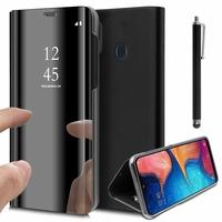 """Samsung Galaxy A20E/ A20e Dual SIM 5.8"""" SM-A202F/ SM-A202F/DS (non compatible Galaxy A20 6.4""""): Clear View Housse Etui Flip Folio Support Vidéo Effet Mirroir + Stylet - NOIR"""