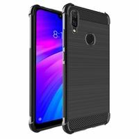 """Xiaomi Redmi 7 6.26"""" (non compatible Xiaomi Redmi Note 7/ Note 7 Pro 6.3""""): Coque Housse Silicone Souple en Fibre de Carbone Brossé motif TPU Case - NOIR"""