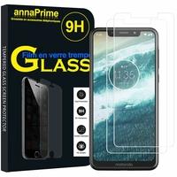 "Motorola One (P30 Play) 5.9"" [Les Dimensions EXACTES du telephone: 149.9 x 72.2 x 8 mm]: Lot / Pack de 2 Films de protection d'écran Verre Trempé"