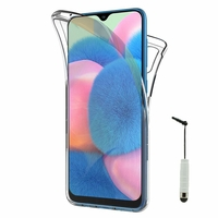 """Samsung Galaxy A30S 6.4"""" SM-A307F A307FN A307G A307GN A307GT A307YN [Les Dimensions EXACTES du telephone: 158.5 x 74.7 x 7.8 mm]: Coque Housse Silicone Gel TRANSPARENTE ultra mince 360° protection intégrale Avant et Arrière + mini Stylet - TRANSPARENT"""
