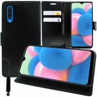 """Samsung Galaxy A30S 6.4"""" SM-A307F A307FN A307G A307GN A307GT A307YN [Les Dimensions EXACTES du telephone: 158.5 x 74.7 x 7.8 mm]: Accessoire Etui portefeuille Livre Housse Coque Pochette support vidéo cuir PU + mini Stylet - NOIR"""