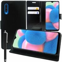 """Samsung Galaxy A30S 6.4"""" SM-A307F A307FN A307G A307GN A307GT A307YN [Les Dimensions EXACTES du telephone: 158.5 x 74.7 x 7.8 mm]: Accessoire Etui portefeuille Livre Housse Coque Pochette support vidéo cuir PU + Stylet - NOIR"""