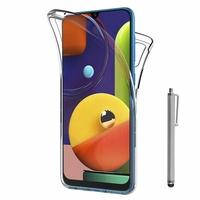 """Samsung Galaxy A50S 6.4"""" SM-A507FN A507FN/DS [Les Dimensions EXACTES du telephone: 158.5 x 74.5 x 7.7 mm]: Coque Housse Silicone Gel TRANSPARENTE ultra mince 360° protection intégrale Avant et Arrière + Stylet - TRANSPARENT"""