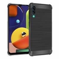 """Samsung Galaxy A50S 6.4"""" SM-A507FN A507FN/DS [Les Dimensions EXACTES du telephone: 158.5 x 74.5 x 7.7 mm]: Coque Housse Silicone Souple en Fibre de Carbone Brossé motif TPU Case - NOIR"""