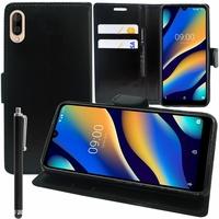 """Motorola Moto G7 Power 6.2"""" XT1955 (non compatible Moto G7/ G7 Plus/ G7 Play): Accessoire Etui portefeuille Livre Housse Coque Pochette support vidéo cuir PU + Stylet - NOIR"""