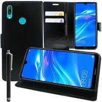 """Huawei Y7 (2019) 6.26"""" (non compatible Huawei Y7 (2018) 5.99""""): Accessoire Etui portefeuille Livre Housse Coque Pochette support vidéo cuir PU + Stylet - NOIR"""