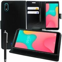 """Wiko Y60 5.45"""" [Les Dimensions EXACTES du telephone: 146.8 x 71.8 x 9.3 mm]: Accessoire Etui portefeuille Livre Housse Coque Pochette support vidéo cuir PU + Stylet - NOIR"""