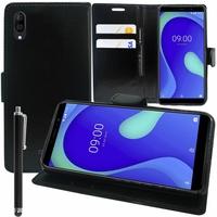 """Wiko Y80 5.99"""" [Les Dimensions EXACTES du telephone: 160 x 76.5 x 8.55 mm]: Accessoire Etui portefeuille Livre Housse Coque Pochette support vidéo cuir PU + Stylet - NOIR"""