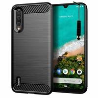 """Xiaomi Mi A3 6.01"""" 1906F9S [Les Dimensions EXACTES du telephone: 153.5 x 71.9 x 8.5 mm]: Coque Housse Silicone Souple en Fibre de Carbone Brossé motif TPU Case + mini Stylet - NOIR"""
