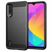 """Xiaomi Mi CC9E 6.01"""" M1906F9SC (non compatible Xiaomi Mi CC9 6.39"""") [Les Dimensions EXACTES du telephone: 153.5 x 71.9 x 8.5 mm]: Coque Housse Silicone Souple en Fibre de Carbone Brossé motif TPU Case - NOIR"""
