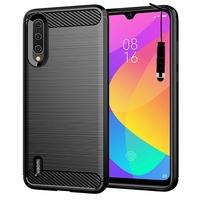 """Xiaomi Mi CC9E 6.01"""" M1906F9SC (non compatible Xiaomi Mi CC9 6.39"""") [Les Dimensions EXACTES du telephone: 153.5 x 71.9 x 8.5 mm]: Coque Housse Silicone Souple en Fibre de Carbone Brossé motif TPU Case + mini Stylet - NOIR"""