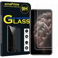 """Apple iPhone 11 Pro Max 6.5"""" A2218 A2161 A2220 (non compatible iPhone 11 6.1""""/ iPhone 11 Pro 5.8""""): Lot / Pack de 2 Films de protection d'écran Verre Trempé"""