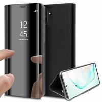 """Samsung Galaxy Note10/ Note 10 5G 6.3"""" SM-N970F N970U N970U1 N9700 N970W N9700 N970N N971U N971N: Clear View Housse Etui Flip Folio Support Vidéo Effet Mirroir - NOIR"""