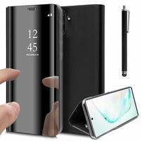 """Samsung Galaxy Note10/ Note 10 5G 6.3"""" SM-N970F N970U N970U1 N9700 N970W N9700 N970N N971U N971N: Clear View Housse Etui Flip Folio Support Vidéo Effet Mirroir + Stylet - NOIR"""