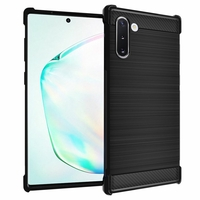 "Samsung Galaxy Note10/ Note 10 5G 6.3"" SM-N970F N970U N970U1 N9700 N970W N9700 N970N N971U N971N: Coque Housse Silicone Souple en Fibre de Carbone Brossé motif TPU Case - NOIR"