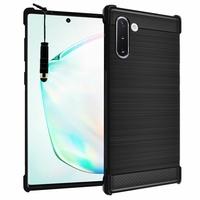 "Samsung Galaxy Note10/ Note 10 5G 6.3"" SM-N970F N970U N970U1 N9700 N970W N9700 N970N N971U N971N: Coque Housse Silicone Souple en Fibre de Carbone Brossé motif TPU Case + mini Stylet - NOIR"