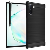 "Samsung Galaxy Note10/ Note 10 5G 6.3"" SM-N970F N970U N970U1 N9700 N970W N9700 N970N N971U N971N: Coque Housse Silicone Souple en Fibre de Carbone Brossé motif TPU Case + Stylet - NOIR"
