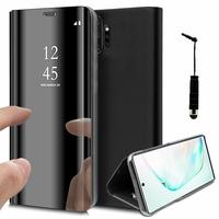 "Samsung Galaxy Note10+ Plus/ Note 10 Pro/ Note10+ 5G 6.8"" SM-N975F N976F N975U N9750 N975U1 N975W N975N N976U N976: Clear View Housse Etui Flip Folio Support Vidéo Effet Mirroir + mini Stylet - NOIR"
