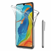 """Huawei P30 Lite 6.15"""" MAR-LX1M/ MAR-AL00/ MAR-TL00 (non compatible Huawei P30/ P30 Pro): Coque Housse Silicone Gel TRANSPARENTE ultra mince 360° protection intégrale Avant et Arrière + Stylet - TRANSPARENT"""