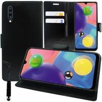 """Samsung Galaxy A70S 6.7"""" SM-A707F A707FN A707GM A707MN A7070 A707W: Accessoire Etui portefeuille Livre Housse Coque Pochette support vidéo cuir PU + mini Stylet - NOIR"""