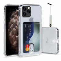 """Apple iPhone 11 Pro Max 6.5"""" A2218 A2161 A2220 (non compatible iPhone 11 6.1""""/ iPhone 11 Pro 5.8""""): TPU Coque de Protection Antichoc Transparente comme Cristal avec ID fente porte-carte de crédit couverture souple + mini Stylet - TRANSPARENT"""