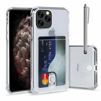 """Apple iPhone 11 Pro Max 6.5"""" A2218 A2161 A2220 (non compatible iPhone 11 6.1""""/ iPhone 11 Pro 5.8""""): TPU Coque de Protection Antichoc Transparente comme Cristal avec ID fente porte-carte de crédit couverture souple + Stylet - TRANSPARENT"""