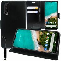 """Xiaomi Mi A3 6.01"""" 1906F9S [Les Dimensions EXACTES du telephone: 153.5 x 71.9 x 8.5 mm]: Accessoire Etui portefeuille Livre Housse Coque Pochette support vidéo cuir PU + mini Stylet - NOIR"""