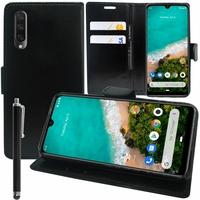 """Xiaomi Mi A3 6.01"""" 1906F9S [Les Dimensions EXACTES du telephone: 153.5 x 71.9 x 8.5 mm]: Accessoire Etui portefeuille Livre Housse Coque Pochette support vidéo cuir PU + Stylet - NOIR"""