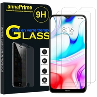 "Xiaomi Redmi 8 6.22"" M1908C3IC MZB8255IN [Les Dimensions EXACTES du telephone: 156.5 x 75.4 x 9.4 mm]: Lot / Pack de 2 Films de protection d'écran Verre Trempé"